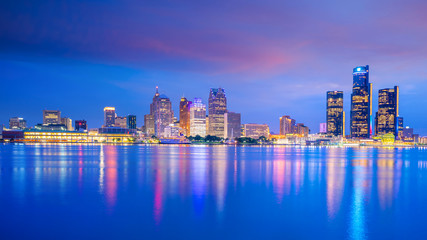 Wall Mural - Detroit skyline in Michigan, USA at sunset