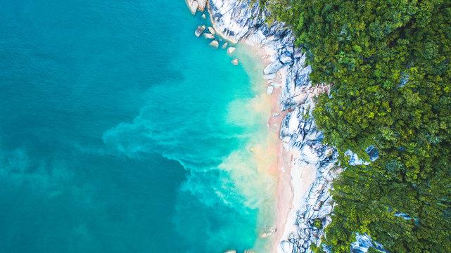 Aerial view of cliff near beach
