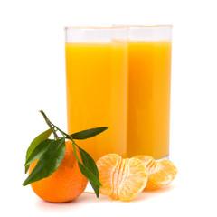 Fototapete - Tangerines and juice glass