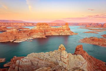Wall Murals Deep brown Colorful sunset at Lake Powell, Utah, USA.