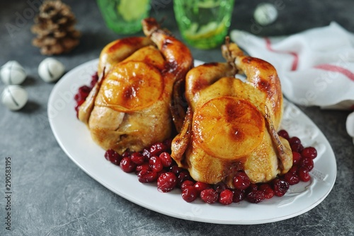 Two whole roasted chicken with cranberries and orange slices