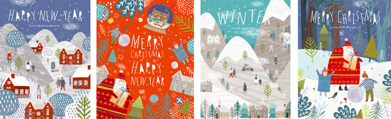 Winter holidays merry christmas and happy new year! Vector illustrations of nature, landscape, houses, people, and trees; drawing santa claus and happy children and family in the forest. Backgrounds.