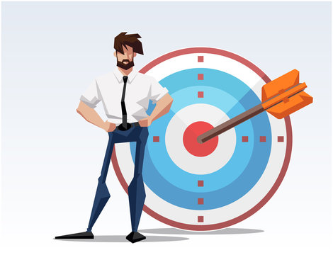 Businessman hitting the target - modern flat design style colorful illustration on white background. An image of a young ambitious man shooting the arrow. Goal achievement concept