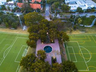 Aerial view of football pitch