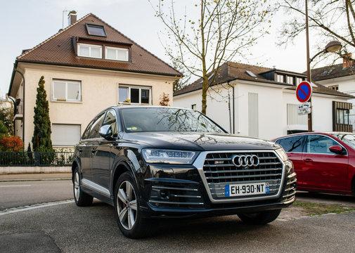 STRASBOURG, FRANCE  - APR 8, 2018: Luxury Audi Q7 SQ7 SUV on a French street