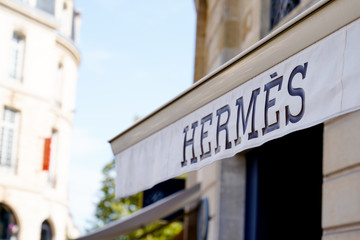 Bordeaux , Aquitaine / France - 09 18 2019 : Hermès French high fashion sign shop luxury goods manufacturer established in 1837 Hermes specializes in leather lifestyle accessories