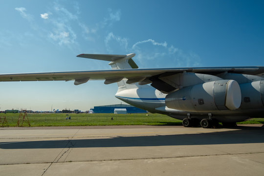 Wing, tail, engine and chassis of the Soviet and Russian heavy military transport aircraft Il-76 MD Candid-B