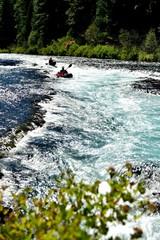 Metolius Kayaks. Kayaks on the Metolius River near Camp Sherman, Oregon.