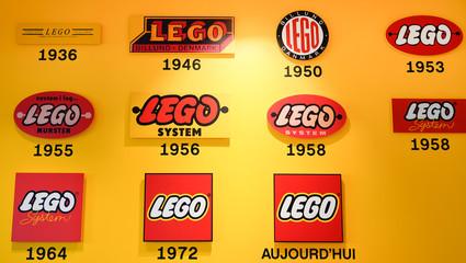 Bordeaux , Aquitaine / France - 09 18 2019 : Bordeaux store different historical logos of the brand LEGO in Imagination Center Shop
