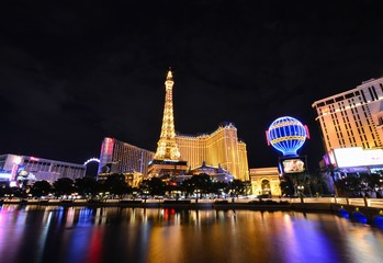 Las Vegas, Nevada - July 25, 2017: View of the Eiffel Tower and Paris balloon of Paris Resort Casino and hotels in Las Vegas on July 25, 2017.