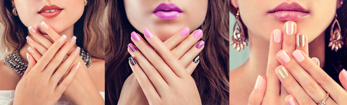 Nail art and design. Beauty fashion model with different make-up and manicure wearing jewelry. Set of nude looks