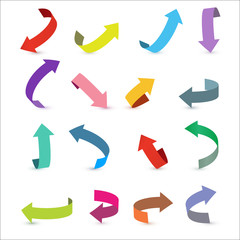 Colorful ribbon arrow set. Arrow stickerst various angles and directions. 3d vector icon set.