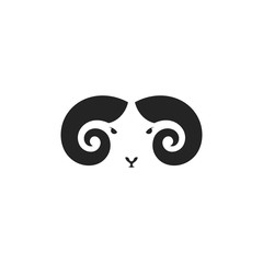 Mountain ram. Logo. Mouflon head on white background