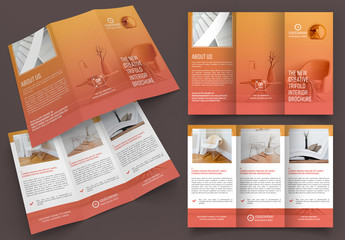 Trifold Brochure Layout with Orange Gradients