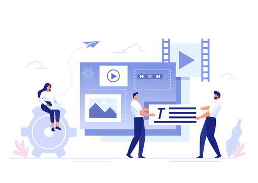SMM, Content Management and Blogging concept in flat design. Creating, marketing and sharing of digital - vector illustration.