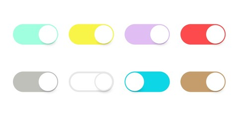 Buttons toggle switch. Set buttons slider switches. Colored bright slider buttons for application. Web icons ui for smartphone. Vector illustration. EPS 10