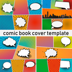 Fototapete - Abstract Creative concept vector comics pop art style blank layout template with clouds beams and isolated dots pattern on background. For Web and Mobile Applications, illustration template design.