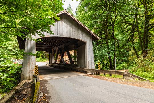 USA, Washington State, Woodland. Covered bridge over Cedar Creek near Vancouver, Washington.