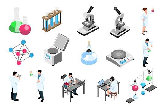 Pharmaceutic Laboratory Isometric Icons Set