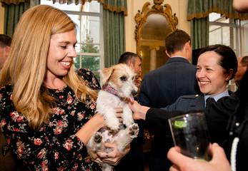 Britain's Prime Minister Boris Johnson hosts a military reception in London
