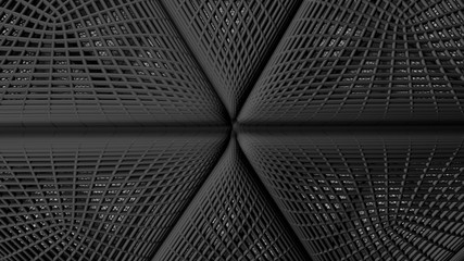 Wall Mural - Abstract dark black Architecture Background. 3d Render illustration.