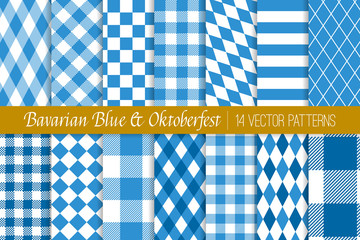 Oktoberfest Vector Patterns in Bavarian Blue and White Lozenge, Diamond, Harlequin, Stripes, Checks and Gingham. Traditional German Folk Festival Backgrounds. Pattern Tile Swatches Included. Fototapete