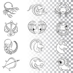 Hand Drawn Zodiac Signs Sketches Illustration