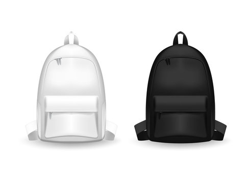 Realistic Detailed 3d Black and white Blank School Backpack. Empty Template Mockup Set of rucksack. V