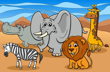 Fototapete - African animals cartoon characters group