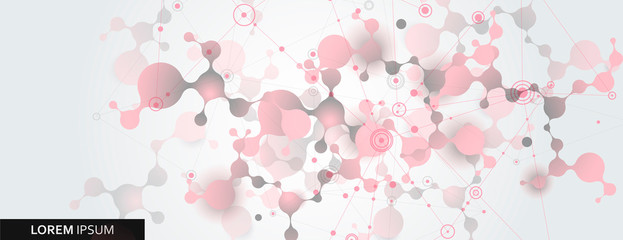 Abstract molecule vector template for biotechnology, energy, medical, science concept. Connection design illustration
