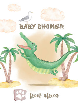 Crocodile baby cute print. Sweet animal in island. Dandy jump with palm on beach. Cool african safari cartoon illustration for nursery kids apparel, invitation. baby shower card, poster and invite