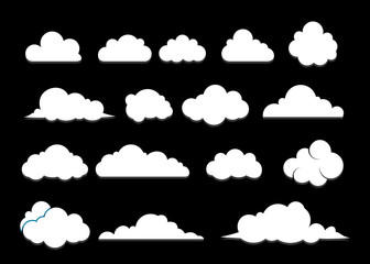 Cloud set vector icons isolated over black background,