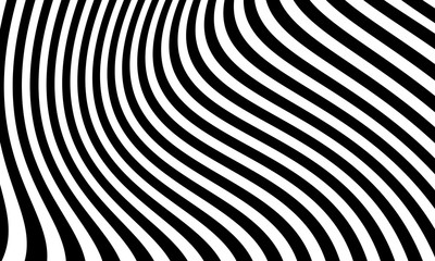 Abstract wavy black and white striped background vector design.