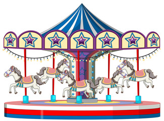 Carousel with white horse on white background
