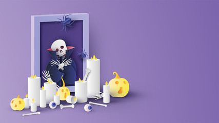 Photo of Dracula skeleton in picture frame with candles, pumpkins, eyes, spider and skeletons decorated on Halloween. Graphic design for Halloween. paper cut and craft style. vector, illustration.