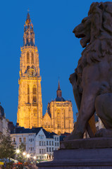 Wall Mural - Antwerp - cathedral of Our Lady with the lion statue and Suikerrui street in evening dusk