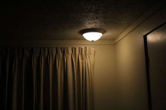 ceiling lamp cinematic motel room