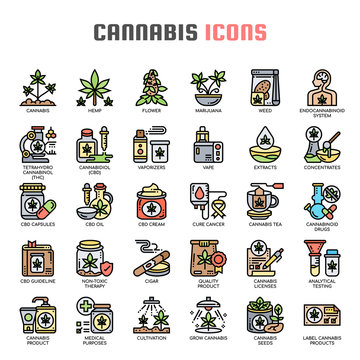 Cannabis , Thin Line and Pixel Perfect Icons