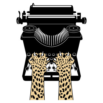 Isolated vector illustration. Two cheetah paws on top of vintage typewriter.
