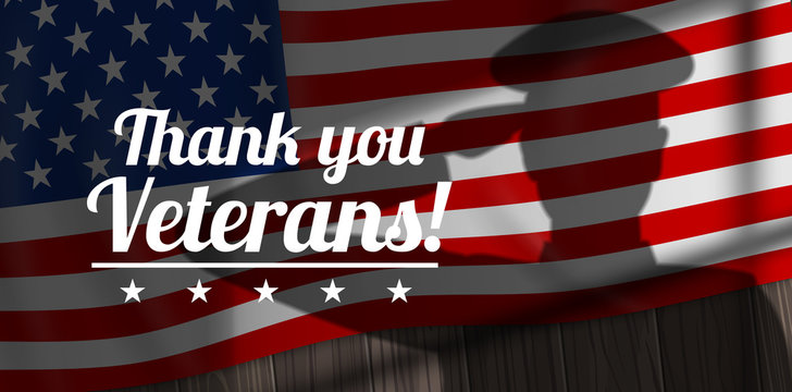 Thank you Veterans saluting soldier shadow silhouette on American flag background