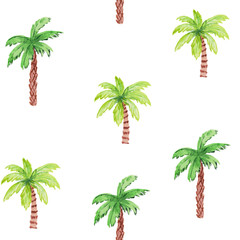 Seamless pattern with palm trees on a white background. watercolor hand drawing illustration for prints, posters, templates, cards.
