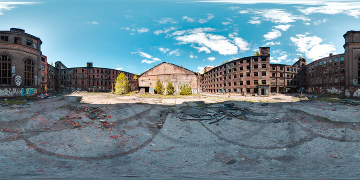3D spherical panorama with 360 viewing angle ready for virtual reality or VR. Full equirectangular projection. ghost town. Exterior of abandoned industrial building landscape architecture of the city