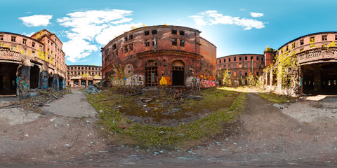 Tuinposter Oude verlaten gebouwen 3D spherical panorama with 360 viewing angle ready for virtual reality or VR. Full equirectangular projection. ghost town. Exterior of abandoned industrial building landscape architecture of the city