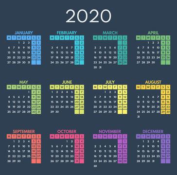 simple vector calendar 2020, starts monday, two weekend, dark background
