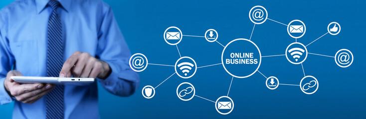 Man using white digital tablet. Online business