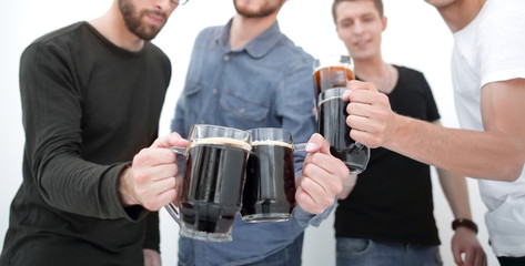 Tuinposter Bar guys with mugs of beer isolated on white background