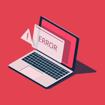 Isometric laptop with error message.