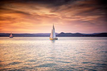 Sailboat on lake Balaton in summer