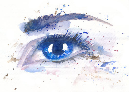 watercolor illustration of a female blue eye