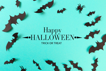 Halloween paper decorations on pastel blue  background. Halloween concept. Flat lay, top view, copy space - Image